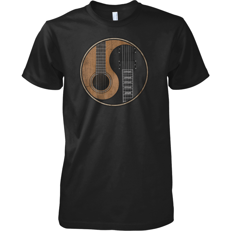 Yin Yang Guitar - Mens - Tshirt - Sizes  Small to 5XL