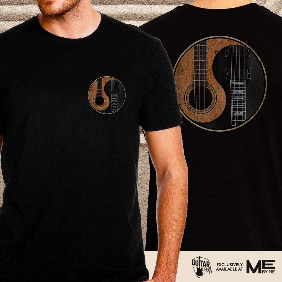 Yin Yang Guitar - Mens - Tshirt w/ Front and Back Logo