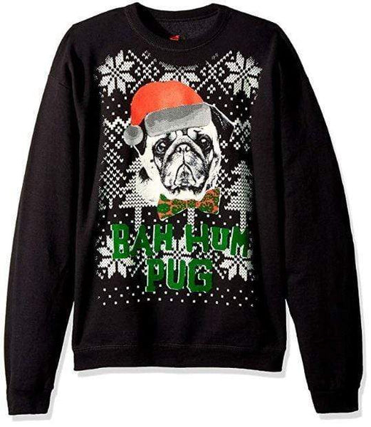 Bah Hum Pug Funny Face - Unisex - Sizes Small to 5XL Ugly Christmas Sweater