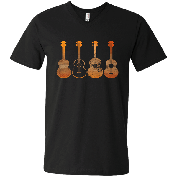 4 Guitar Print - Mens - V-Neck - Small to 3XL