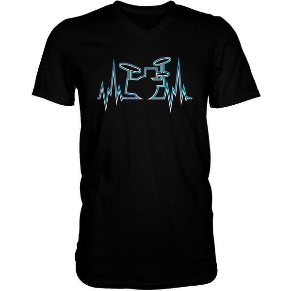 Drummer Heart Line - Mens - V-Neck - Small to 3XL