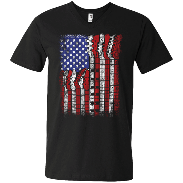 Guitar Flag - Mens - V-Neck - Small to 3XL