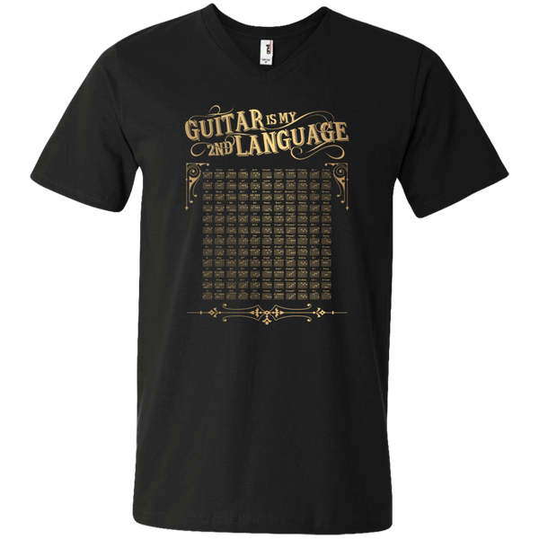 Guitar is My 2nd Language - Mens - V-Neck - Small to 3XL