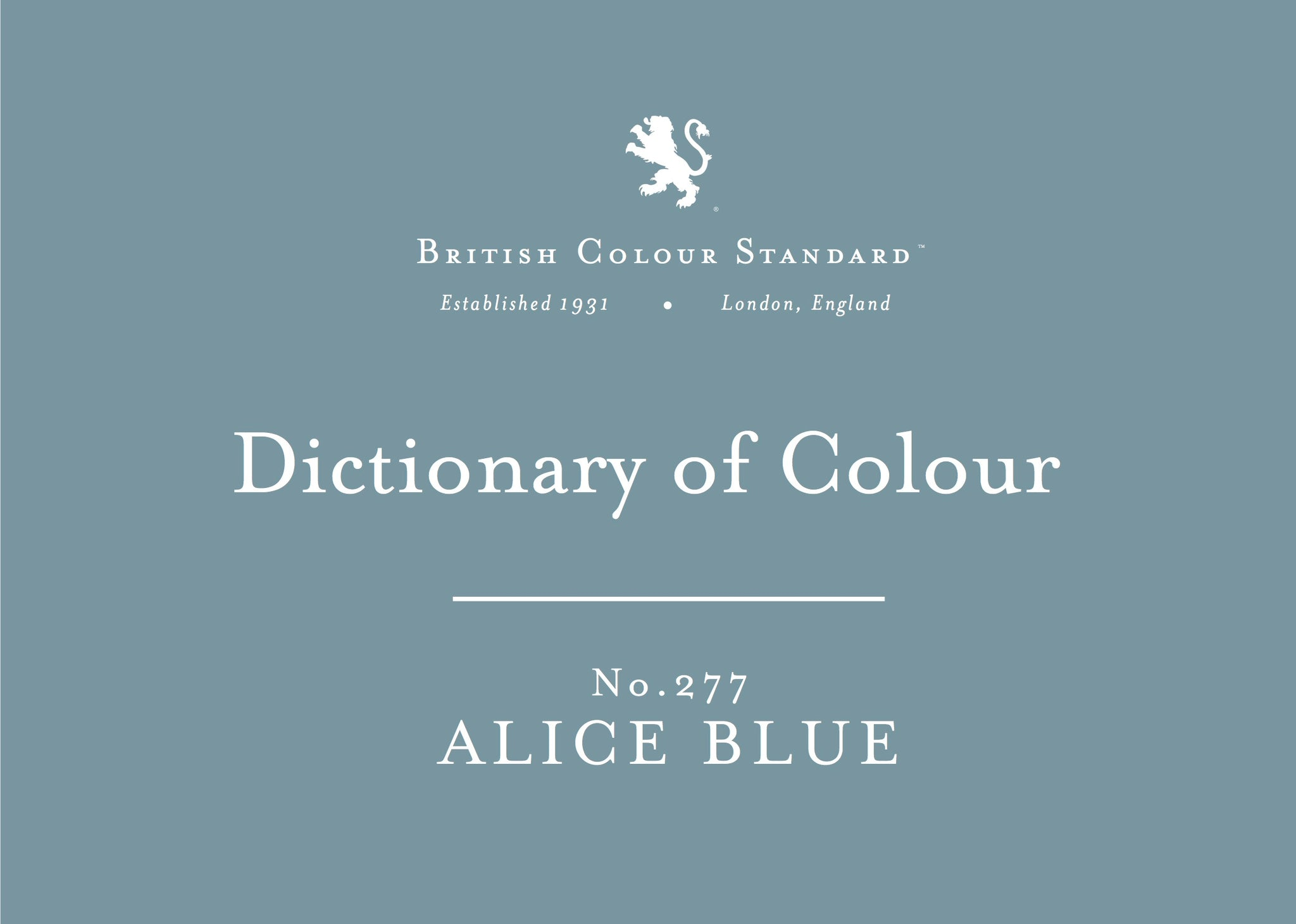 BRITISH COLOUR STANDARD - Alice Blue No. 277