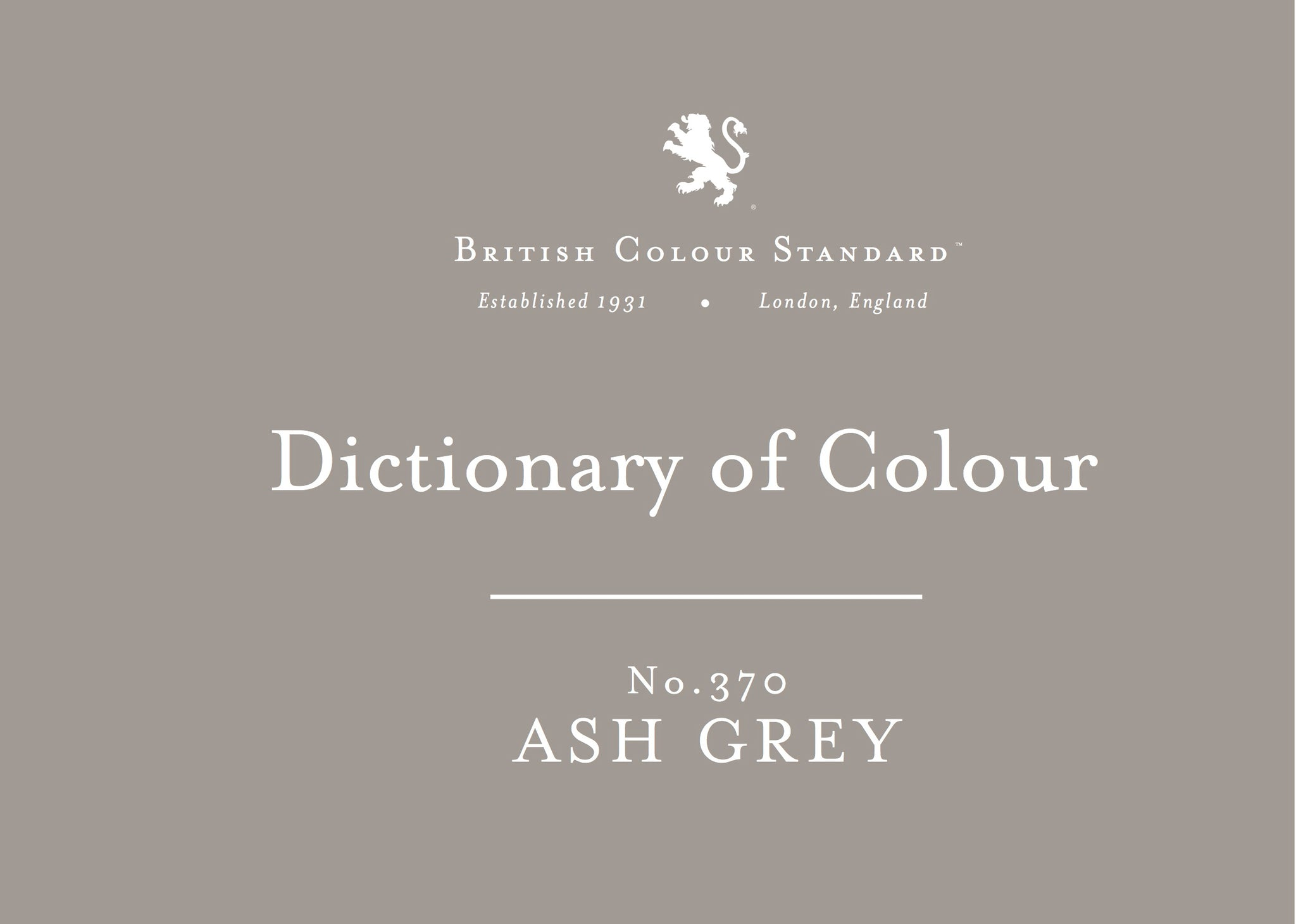 BRITISH COLOUR STANDARD - Ash Grey No.370
