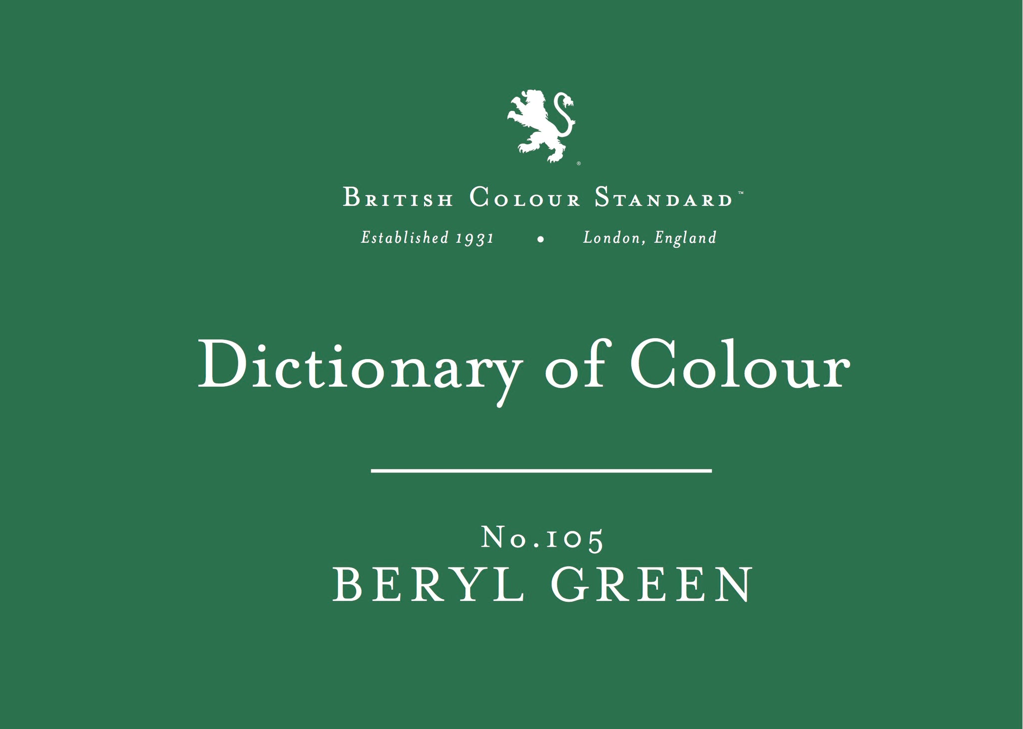 BRITISH COLOUR STANDARD - Beryl Green No.105