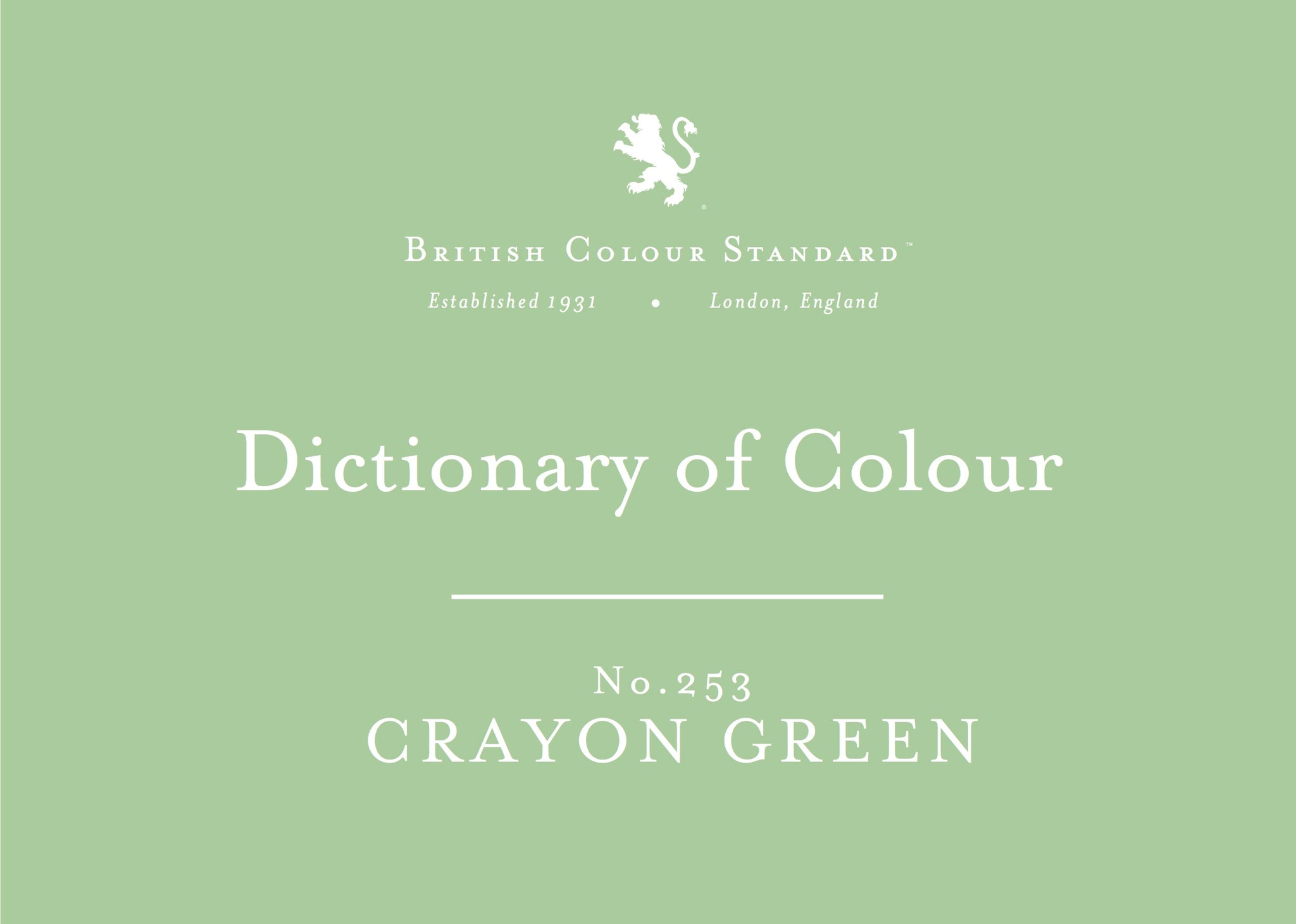 BRITISH COLOUR STANDARD - Crayon Green No. 253