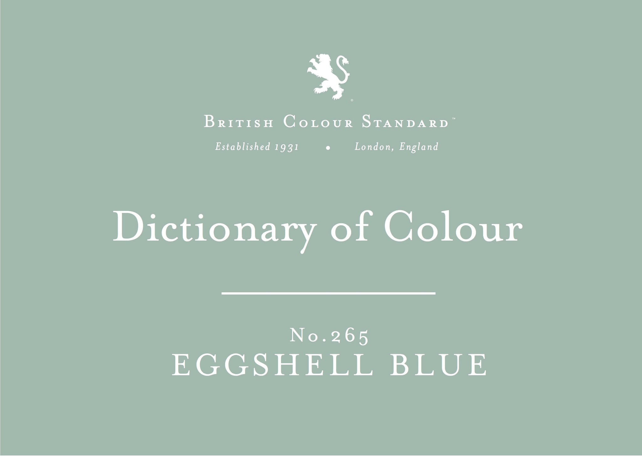 BRITISH COLOUR STANDARD - Eggshell Blue No. 265