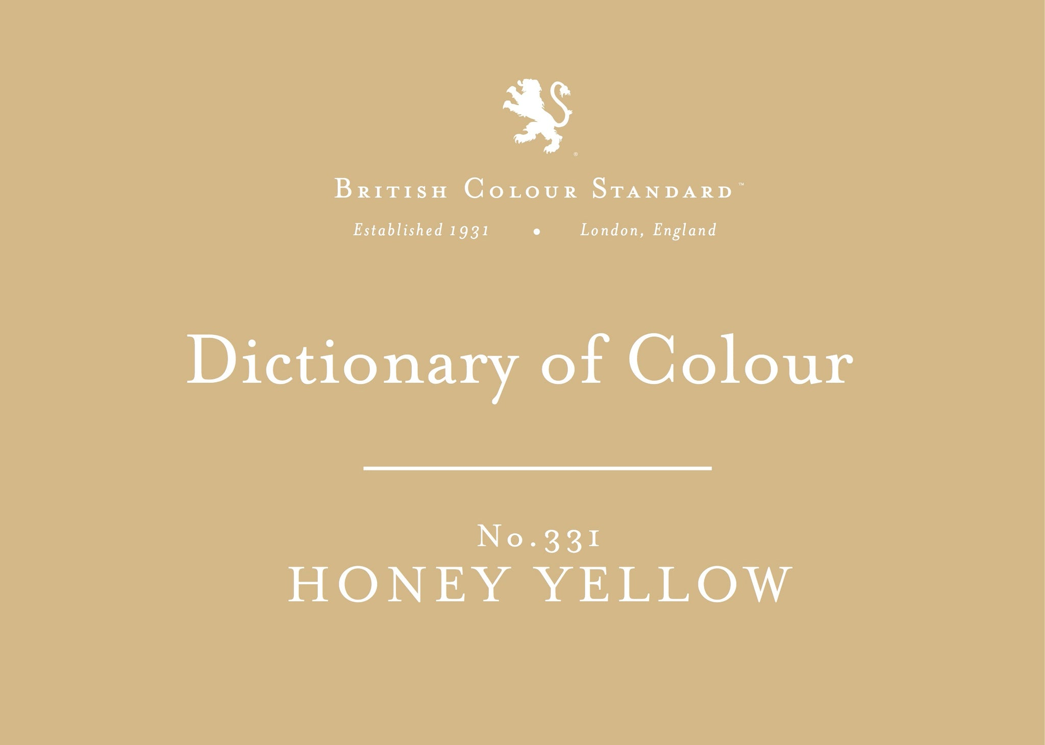 BRITISH COLOUR STANDARD - Honey yellow No. 331