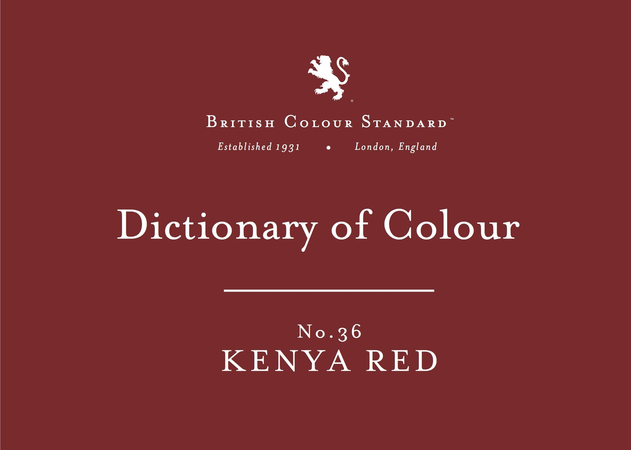 BRITISH COLOUR STANDARD - Kenya Red No. 36