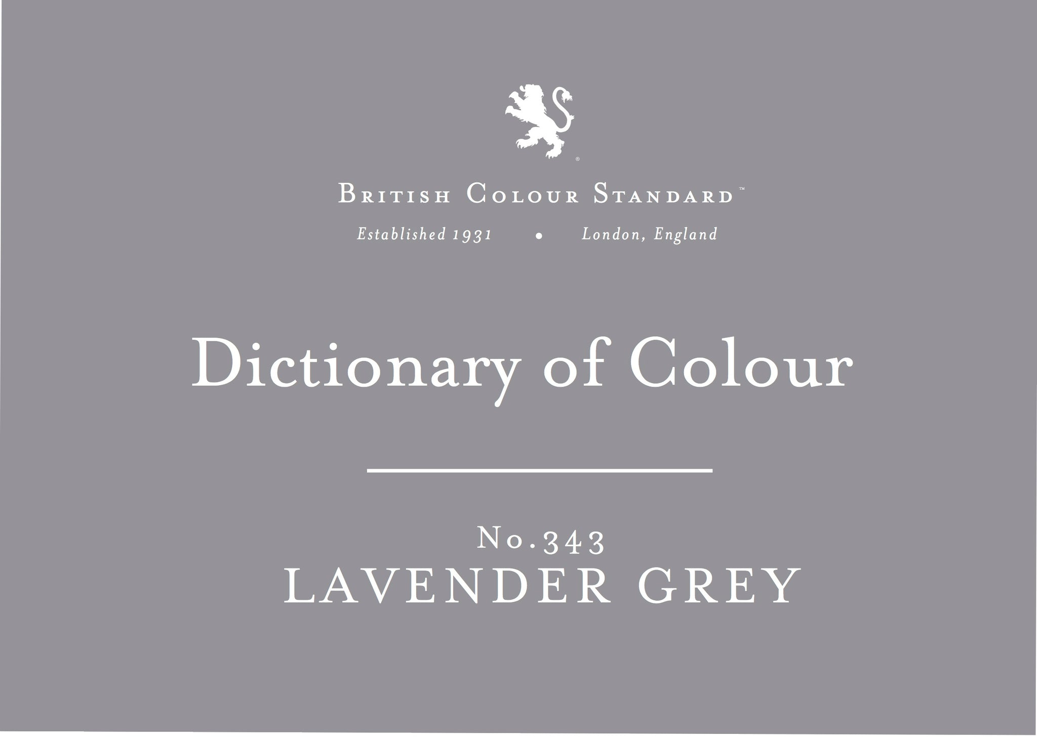 BRITISH COLOUR STANDARD - Lavender Grey No. 343
