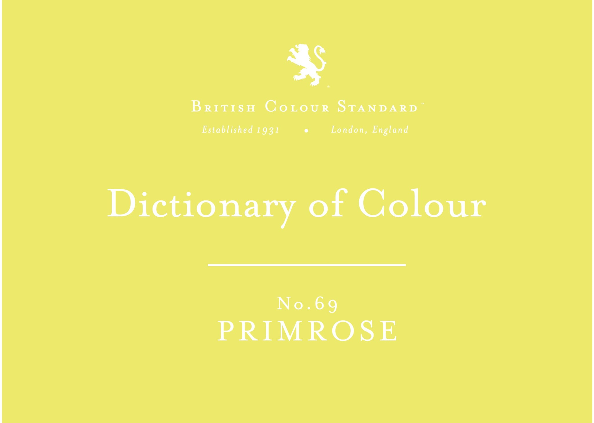 BRITISH COLOUR STANDARD - Primrose No. 69