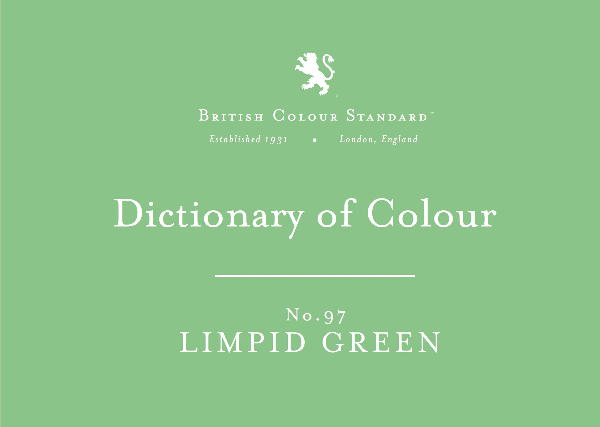 BRITISH COLOUR STANDARD - Limpid Green No. 97