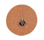 BRITISH COLOUR STANDARD - 27 cm D Jute Placemats in Tangerine/Natural, Tied Set of 4