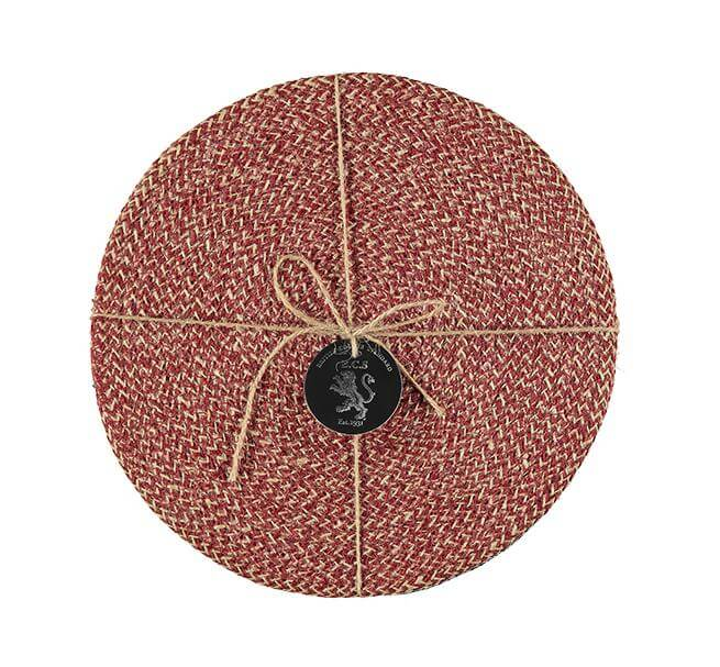 BRITISH COLOUR STANDARD -  27 cm D Jute Placemats in Guardsman Red/Natural, Tied Set of 4