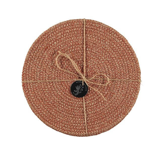 BRITISH COLOUR STANDARD - 27 cm D Jute Placemats in Brick Dust/Natural, Tied Set of 4