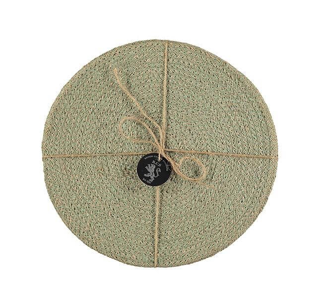 BRITISH COLOUR STANDARD - 27 cm D Jute Placemats in Limpid Green/Natural, Tied Set of 4