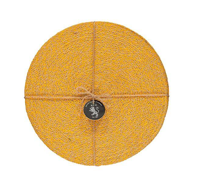 BRITISH COLOUR STANDARD - 27 cm D Jute Placemats in Indian Yellow/Natural, Tied Set of 4