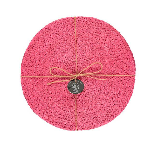 BRITISH COLOUR STANDARD - 27 cm D Silky Jute Place Mats in Neyron Rose, Tied Set of 4