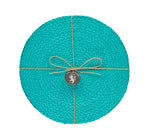 BRITISH COLOUR STANDARD - 27 cm D Silky Jute Place Mats in Medici Blue, Tied Set of 4