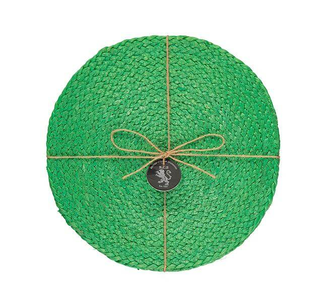 BRITISH COLOUR STANDARD - 27 cm D Silky Jute Place Mats in Grass Green, Tied Set of 4