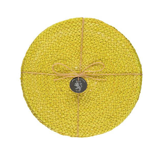 BRITISH COLOUR STANDARD - 27 cm D Silky Jute Place Mats in Sulphur Yellow, Tied Set of 4