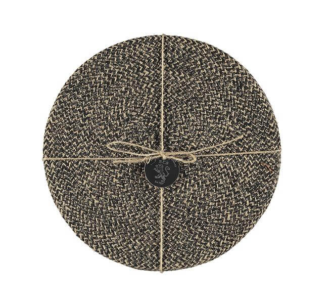 BRITISH COLOUR STANDARD - 27 cm D Jute Placemats in Jet Black/Natural, Tied Set of 4