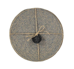 BRITISH COLOUR STANDARD - 27 cm D Jute Placemats in Gull Grey/Natural, Tied Set of 4