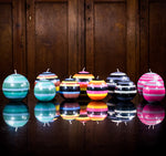 BRITISH COLOUR STANDARD Fair Trade Made Colourful Eco Ball Candles, Globe Candles, Striped Round Candles