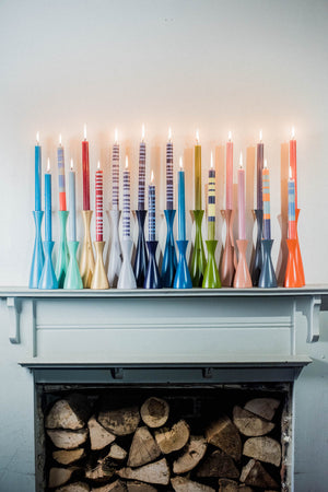 BRITISH COLOUR STANDARD Fair Trade Made, Colourful Striped and Solid Eco Candles, Colourful Wooden candleholders
