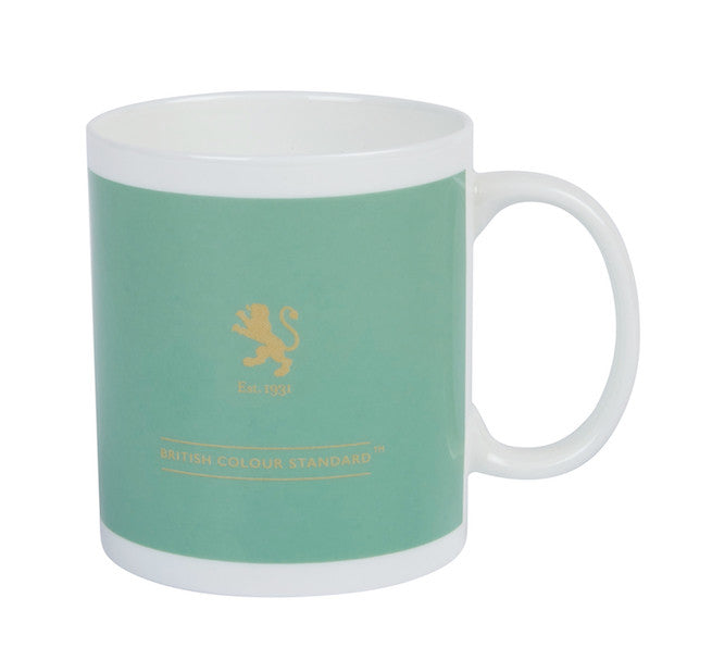 British Colour Standard BCS Apple Green Mug, White Bone China, made in UK,