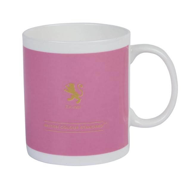 British Colour Standard BCS Azalea Pink Mug, White Bone China, made in UK Back