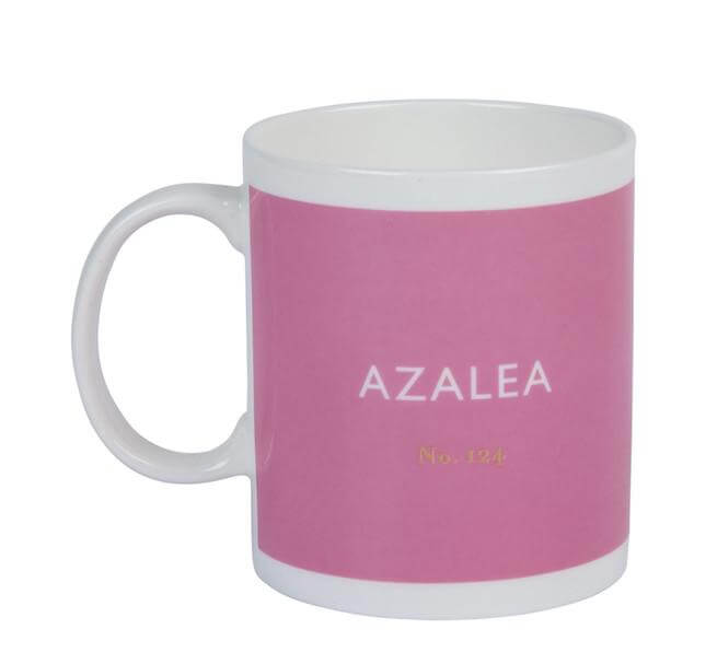 British Colour Standard BCS Azalea Pink Mug, White Bone China, made in UK