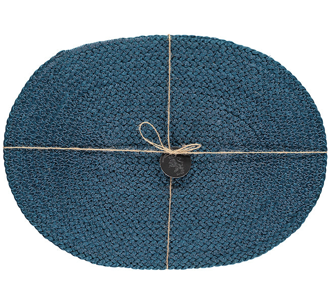 BRITISH COLOUR STANDARD Silky Jute Oval Serving/Place Mats in Petrol Blue, Set of 2