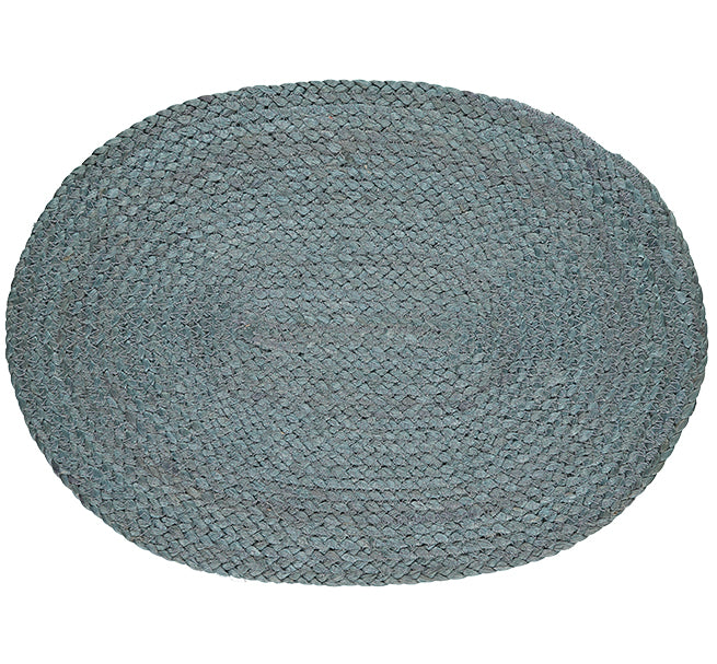 BRITISH COLOUR STANDARD Silky Jute Oval Serving/Place Mats in Moonstone Grey, Set of 2