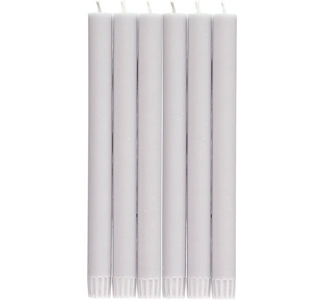BRITISH COLOUR STANDARD - Gull grey Eco Dinner Candles, 6 per pack
