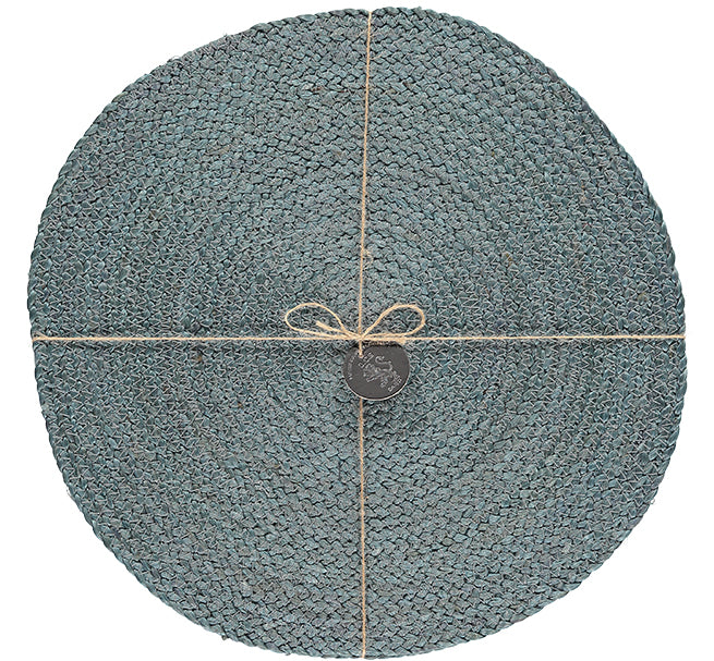 BRITISH COLOUR STANDARD Silky Jute Round Serving/Place Mats in Moonstone Grey, Set of 2