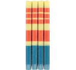 BRITISH COLOUR STANDARD - Striped Jasmine, Rust and Petrol Blue Eco Dinner Candles, 4 per pack