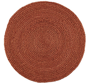 BRITISH COLOUR STANDARD Silky Jute Round Serving/Place Mats in Terra Cotta, Set of 2