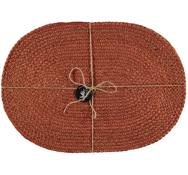 BRITISH COLOUR STANDARD Silky Jute Oval Serving/Place Mats in Terra Cotta, Set of 2