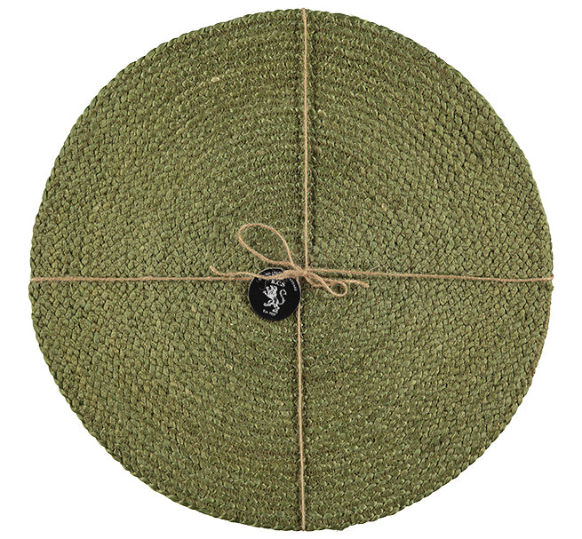 BRITISH COLOUR STANDARD Silky Jute Round Serving/Place Mats in Leek Green, Set of 2