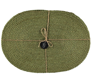 BRITISH COLOUR STANDARD Silky Jute Oval Serving/Place Mats in Leek Green, Set of 2