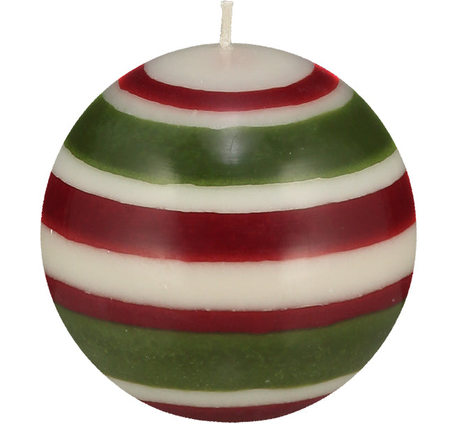 BRITISH COLOUR STANDARD - Large Striped ball Eco Candle in Guardsman Red, Pearl & Olive