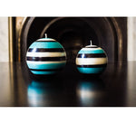 BRITISH COLOUR STANDARD - Large Striped ball Eco Candle in Jet, Pearl & Honey bird