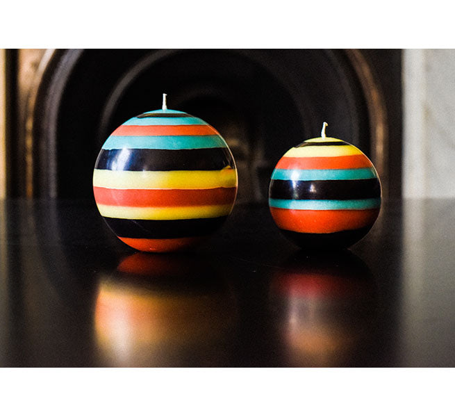 BRITISH COLOUR STANDARD - Large Striped ball Eco Candle in Honey Bird, Jet, Jasmine & Rust