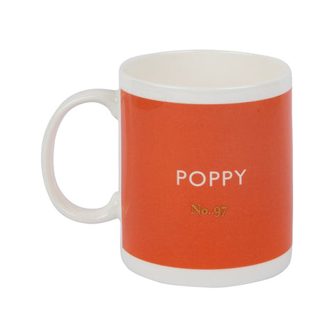 British Colour Standard BCS Poppy Red Mug, White Bone China,