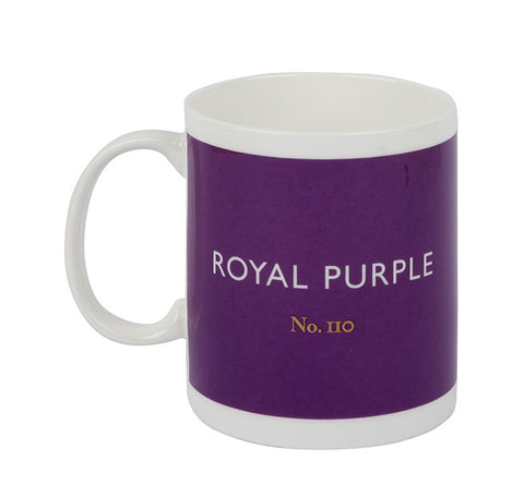 British Colour Standard BCS Royal Purple Mug, White Bone China,