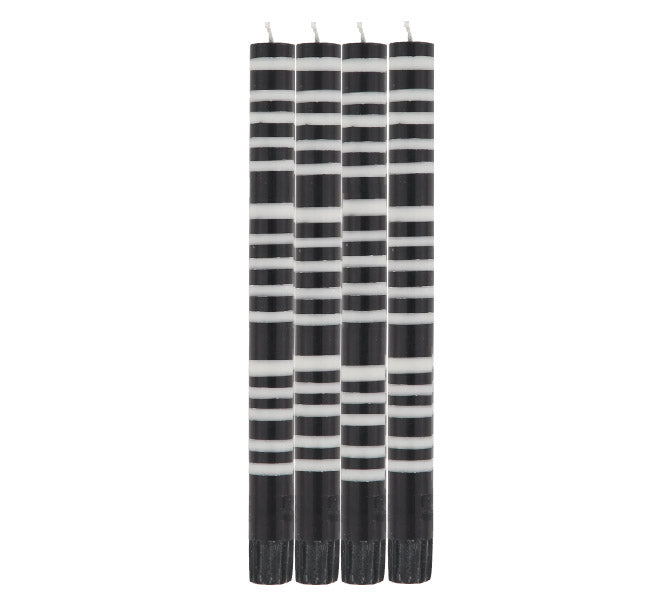 BRITISH COLOUR STANDARD - STRIPED Jet Black & Pearl White Eco Dinner Candles, 4 per pack