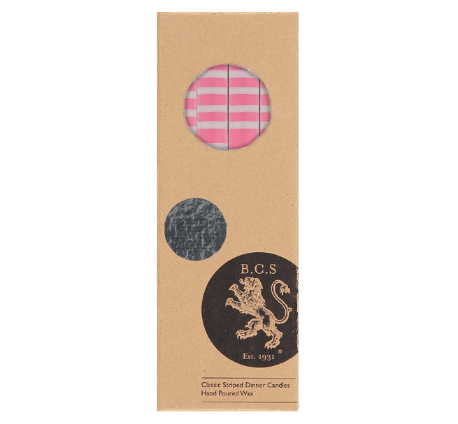 BRITISH COLOUR STANDARD - STRIPED Neyron Rose & Willow Grey Eco Dinner Candles, 4 per pack