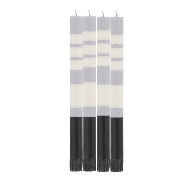 BRITISH COLOUR STANDARD - Striped Jet Black, Pearl White & Dove Grey Eco Dinner Candles, 4 per pack